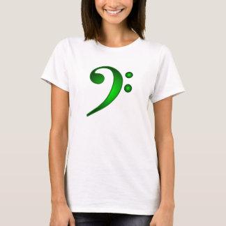 Metallic Green Bass Clef T-Shirt