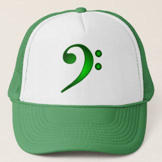 Metallic Green Bass Clef Trucker Hat