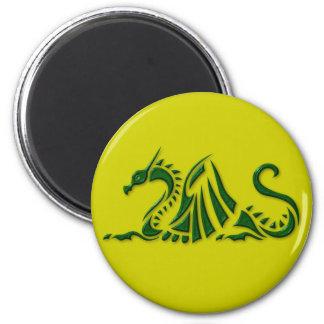 Metallic Green Dragon 2 Inch Round Magnet