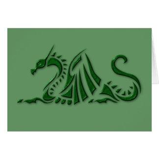 Metallic Green Dragon Greeting Card