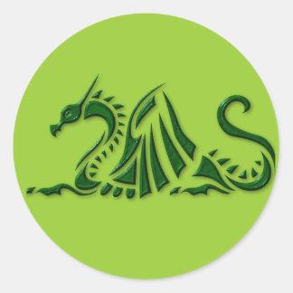 Metallic Green Dragon Classic Round Sticker