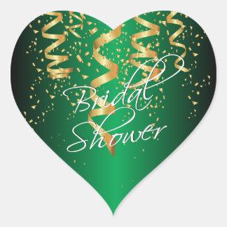 Metallic Green Gold Confetti Bridal Shower Heart Sticker