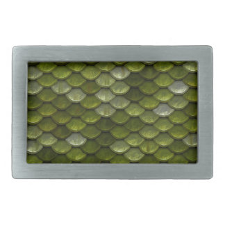 Metallic Green Scales Print Rectangular Belt Buckle