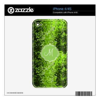 Metallic Green Sequins Look Disco Mirror-Monogram iPhone 4S Skins