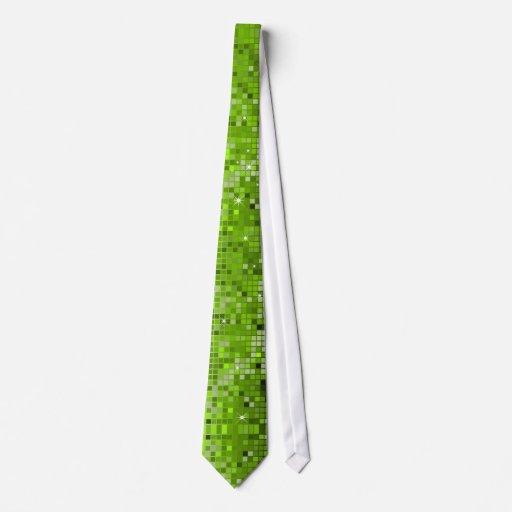 Metallic Green Sequins Look Disco Mirrors Bling Tie