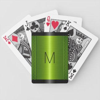 Metallic Green Stainless Steel Metal Look Bicycle Playing Cards