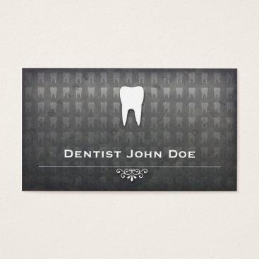 Professional Business metallic grey dentist dental office business card