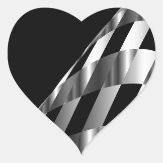 metallic grid background heart sticker