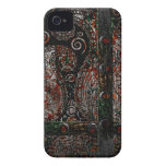Metallic Grunge Paisley Red Rust Gray with Rivets iPhone 4 Covers