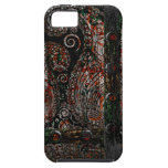 Metallic Grunge Paisley Red Rust Gray with Rivets iPhone 5 Case