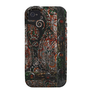 Metallic Grunge Paisley Red Rust Gray with Rivets iPhone 4 Case