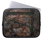 Metallic Grunge Paisley Red Rust Gray with Rivets Laptop Computer Sleeve