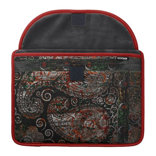Metallic Grunge Paisley Red Rust Gray with Rivets Sleeves For MacBooks