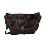 Metallic Grunge Paisley Red Rust Gray with Rivets Messenger Bag