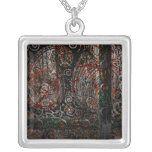 Metallic Grunge Paisley Red Rust Gray with Rivets Pendant