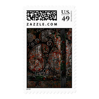 Metallic Grunge Paisley Red Rust Gray with Rivets Postage Stamps