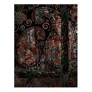 Metallic Grunge Paisley Red Rust Gray with Rivets Postcard