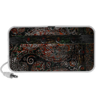 Metallic Grunge Paisley Red Rust Gray with Rivets Mini Speakers