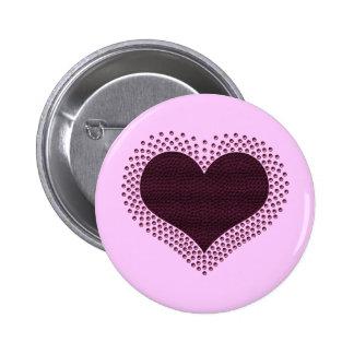 Metallic Heart Button, Purple