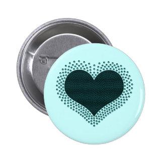 Metallic Heart Button, Teal