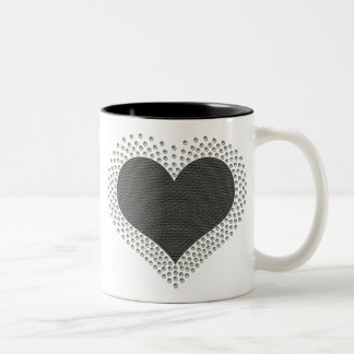 Metallic Heart Mug, Gray Two-Tone Coffee Mug