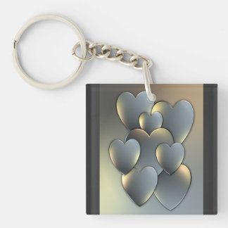 Metallic Hearts Keychain