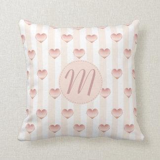Metallic Hearts & Stripes Girly Monogram Pillow