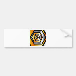 Metallic hexagonal illusion bumper sticker