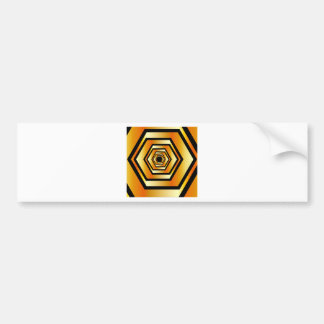 Metallic hexagonal illusion in gold colors bumper sticker