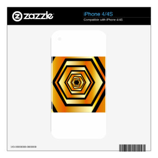Metallic hexagonal illusion in gold colors iPhone 4S skin