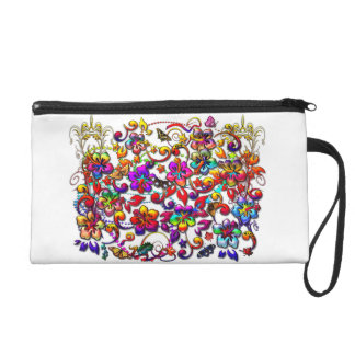 Metallic Hibiscus Butterfly and Stars Floral Art Wristlet Purse
