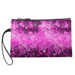 Metallic Hot Pink Sequins Look Disco Mirrors Bling Wristlets