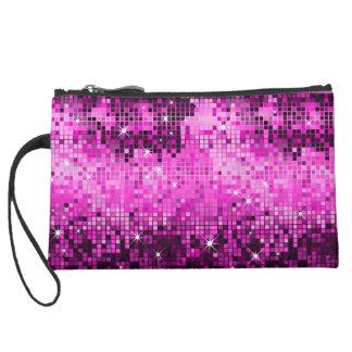 Metallic Hot Pink Sequins Look Disco Mirrors Bling Suede Wristlet