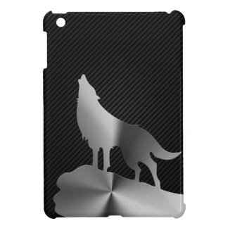 Metallic howling wolf with carbon fiber cover for the iPad mini
