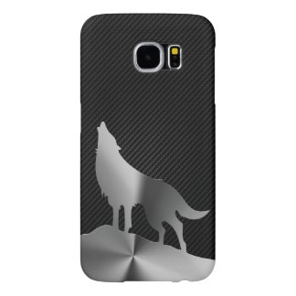 Metallic howling wolf with carbon fiber samsung galaxy s6 cases