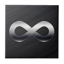 Metallic Infinity Symbol | grey background Ceramic Tile