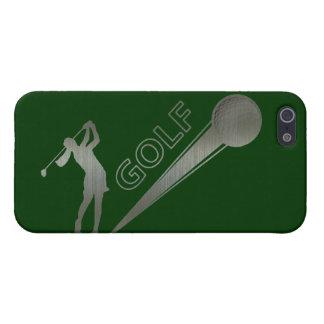 Metallic lady golfer hitting golf ball iPhone SE/5/5s cover