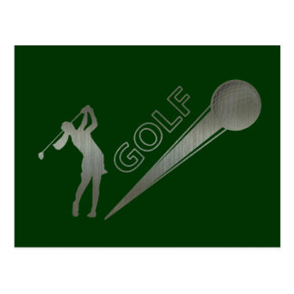 Metallic lady golfer hitting golf ball postcard