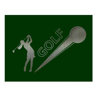 Metallic lady golfer hitting golf ball postcard