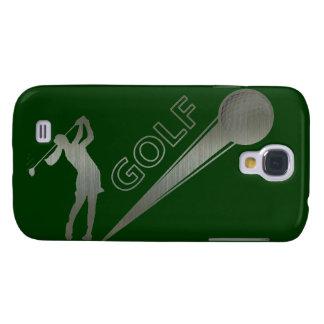 Metallic lady golfer hitting golf ball samsung galaxy s4 case