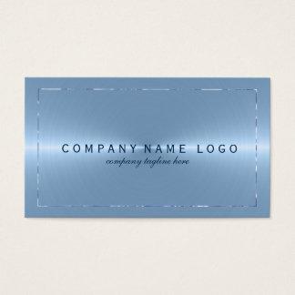 Metallic Light Blue Stainless Steel Look Business Card