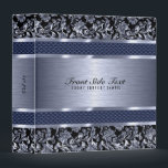 """Metallic Light Blue Vintage Floral Damasks Binder<br><div class=""""desc"""">Black and light blue tint metallic design brushed aluminum look and metallic vintage floral damasks. Custom and optional monogram. Design is available on other products and can be requested on any product we offer at Zazzle. This is not a metal but image that looks metallic.</div>"""