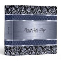 Metallic Light Blue Vintage Floral Damasks Binder