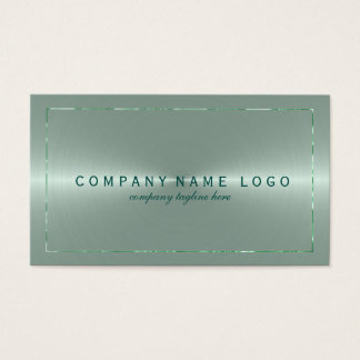 Metallic Light Green Stainless Steel Look Business Card