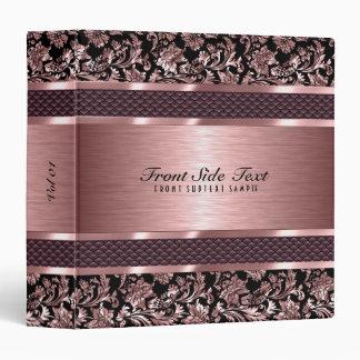 Metallic Light Pink Vintage Floral Damasks Binder