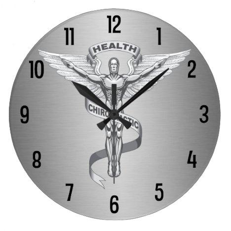 Metallic-Look Chiropractic Emblem Logo Wall Clock