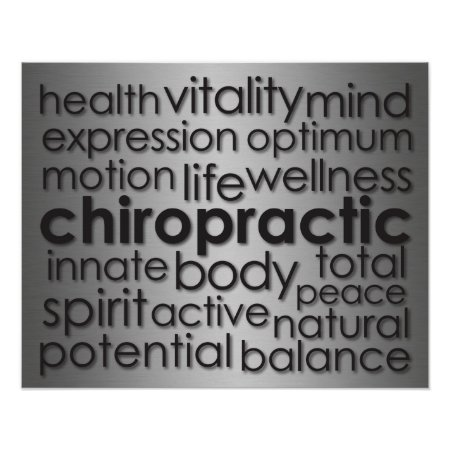 Metallic-Look Chiropractic Word Collage Poster