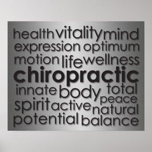 Metallic-Look Chiropractic Word Collage Poster