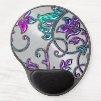 Metallic Look Damask Gel Mouse Pad