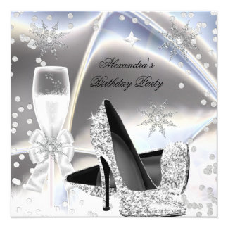 Metallic look Silver Champagne High Heels Birthday Card